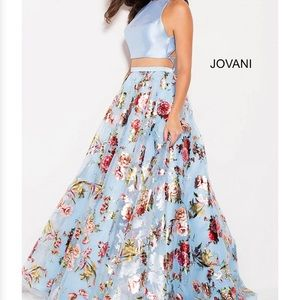 Jovani Two- Piece Floral Long Dress